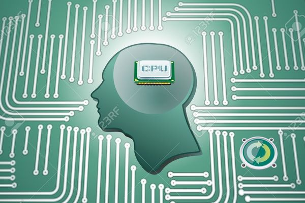 Card 13596629 cpu chip in human head whit circuit background stock vector brain computer