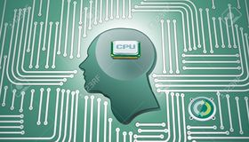Medium 13596629 cpu chip in human head whit circuit background stock vector brain computer
